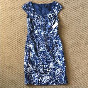 NWT Adrianna Papell blue & white dress, size 8.